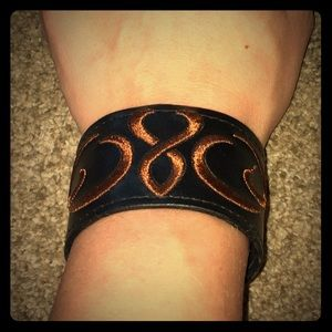 3/$25 Vintage Embroidered Black Leather Cuff